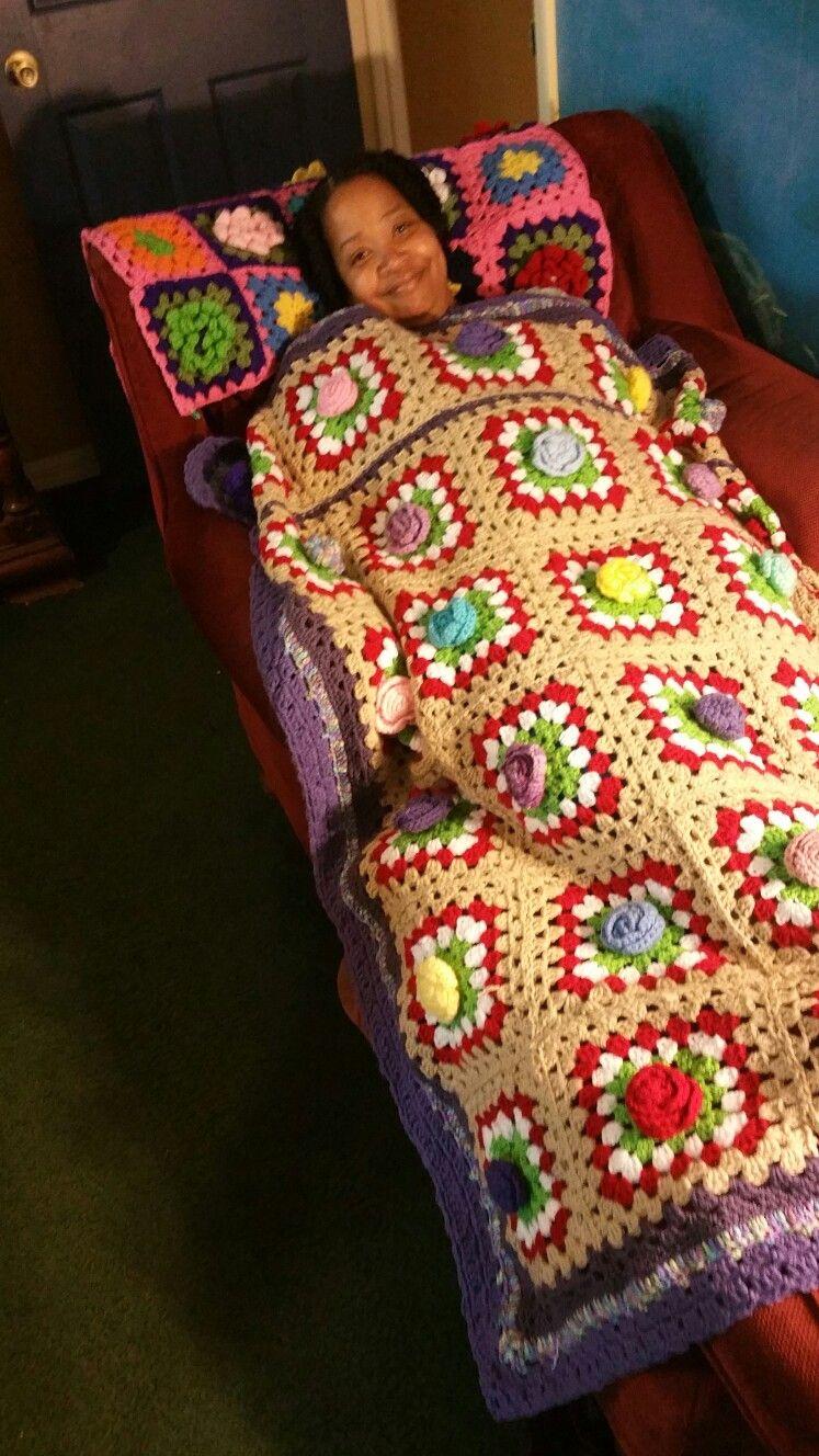My crocheted rose afghan