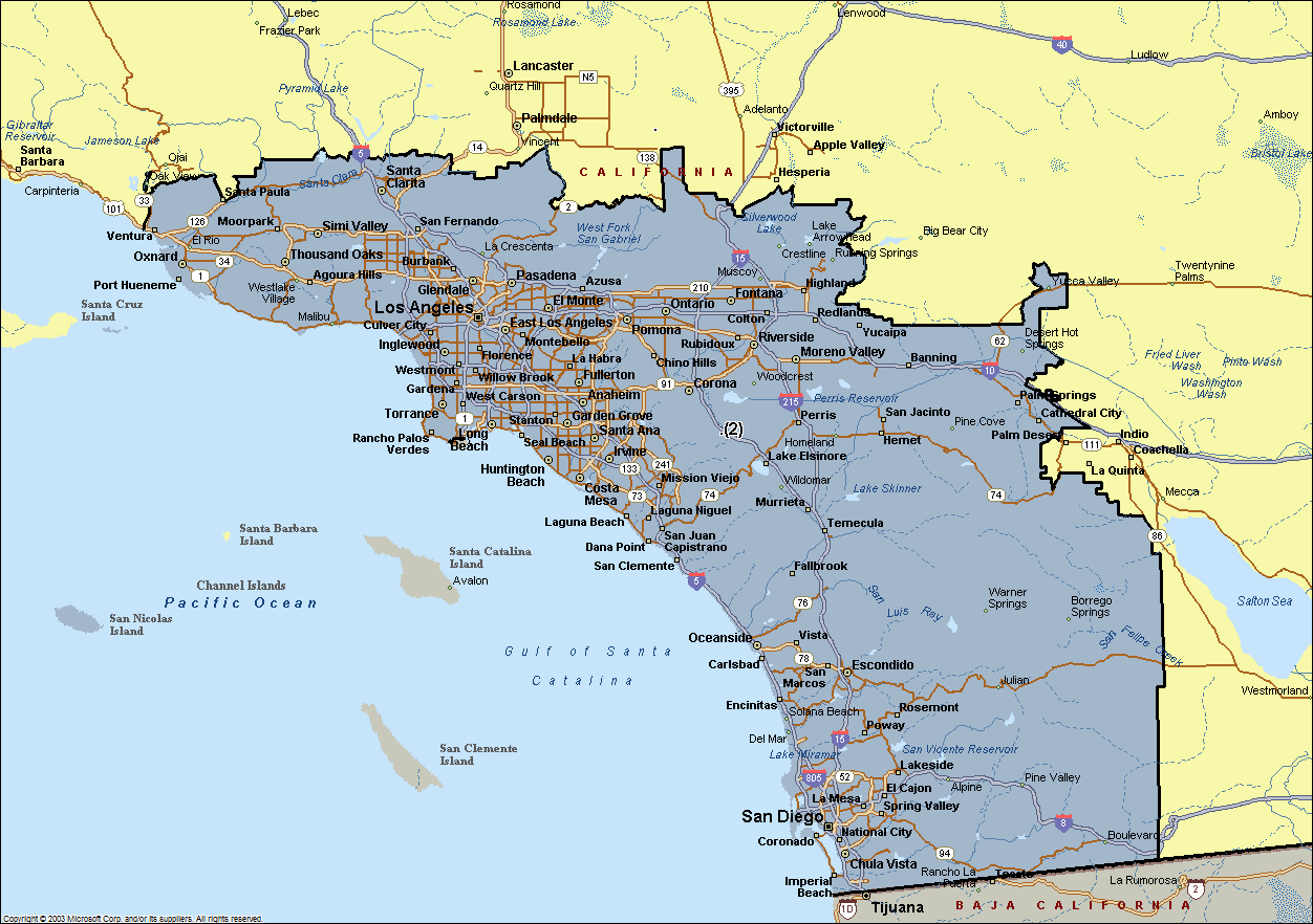Map Of Southern California Cities Southern California Cities - California map with cities