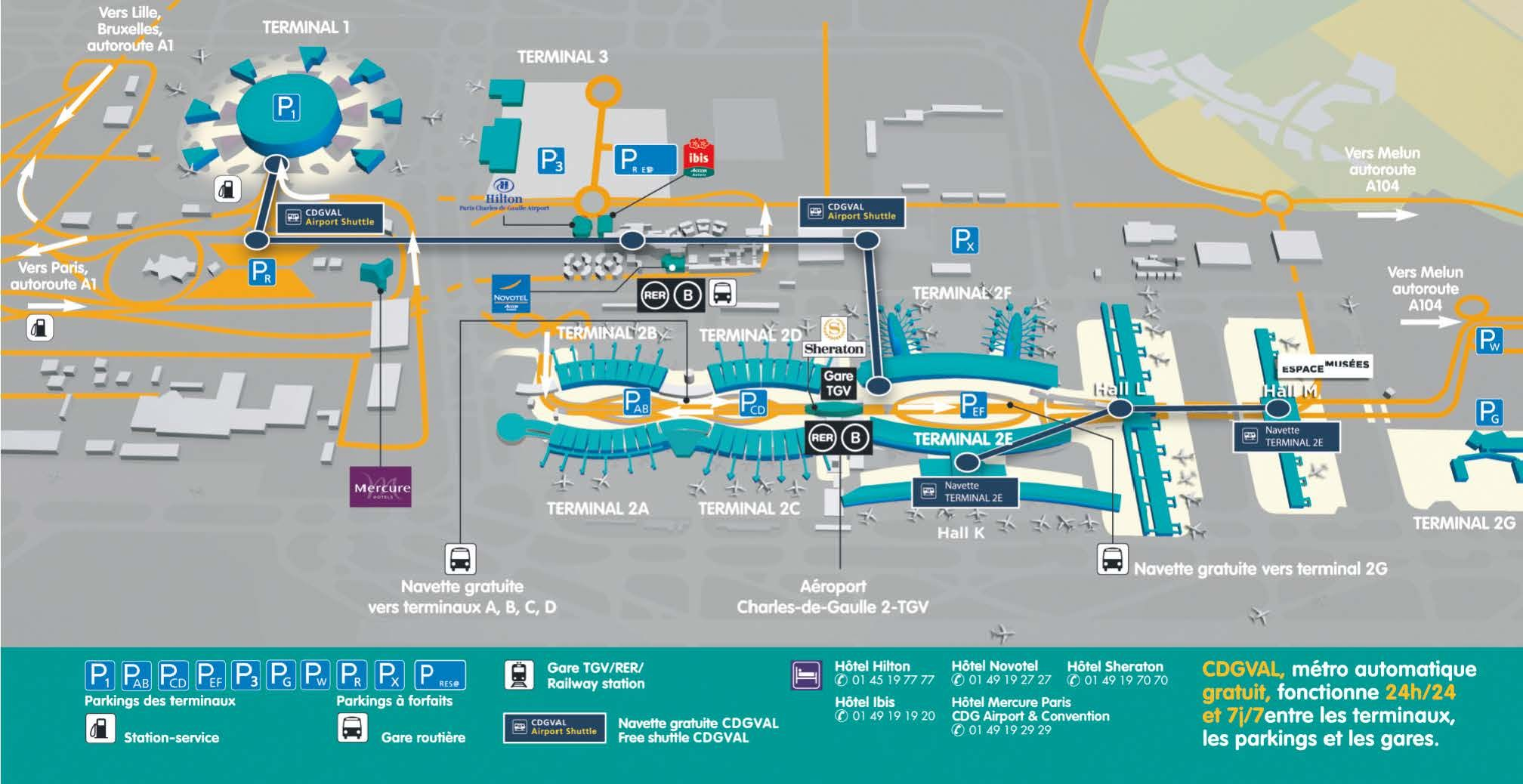 CDG Map (Roissy-Charles de Gaulle Airport) showing: CDG ...