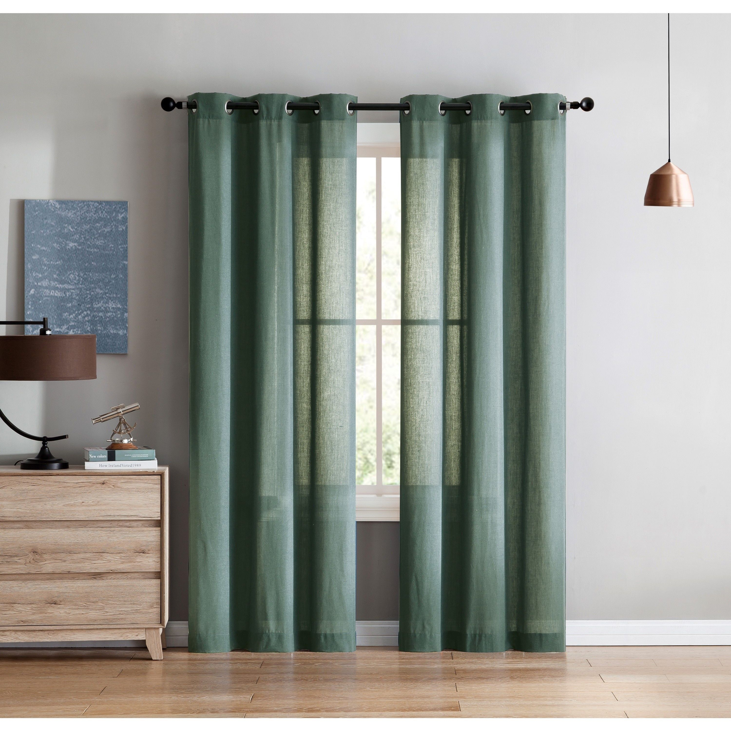Vcny home jeanette solid curtain panel pair x buttercream