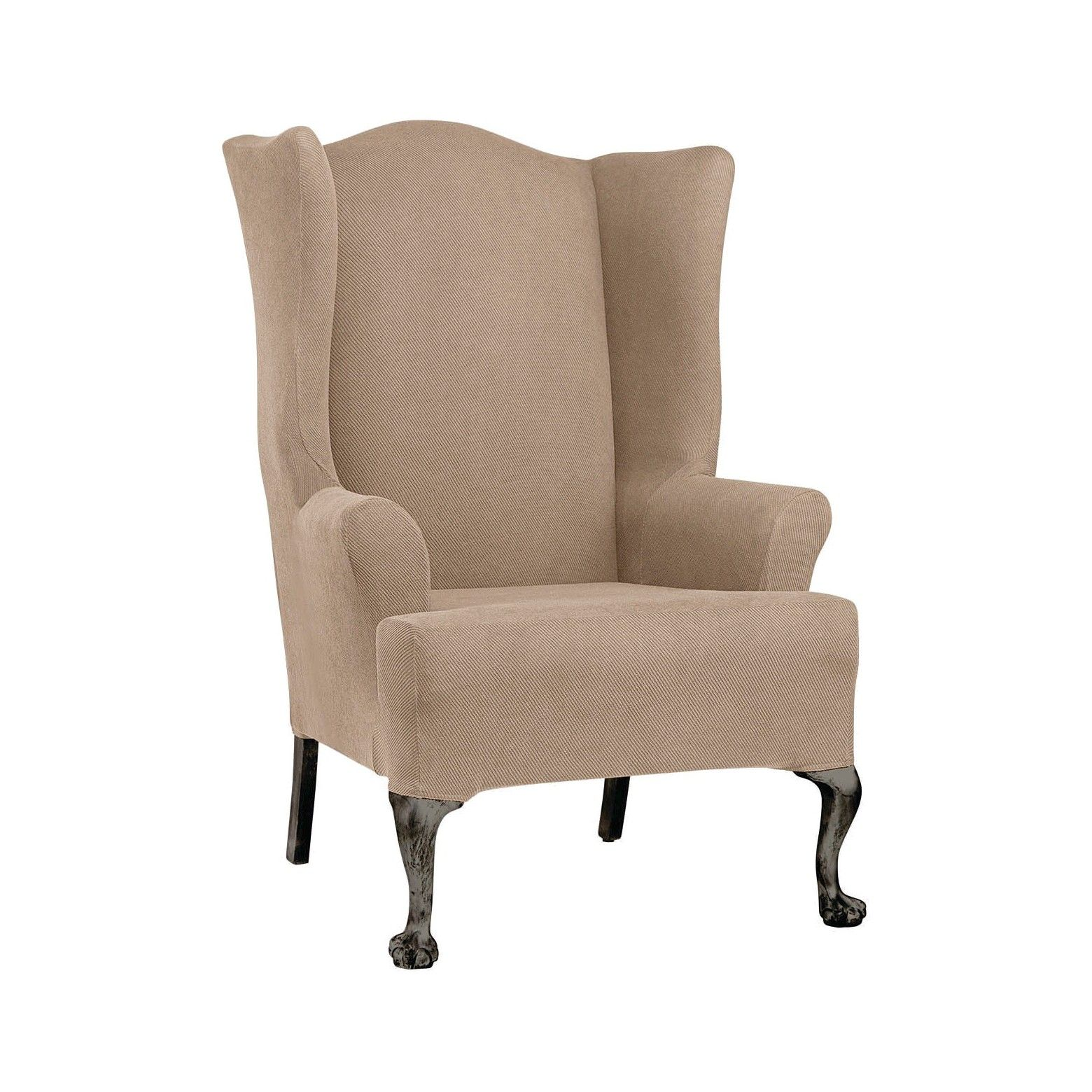 Update Your Living Space With The Sure Fit Stretch Twill Wing Chair Slipcover Made Of 96 Polyester And 4 Spande Slipcovers For Chairs Wing Chair Slipcovers
