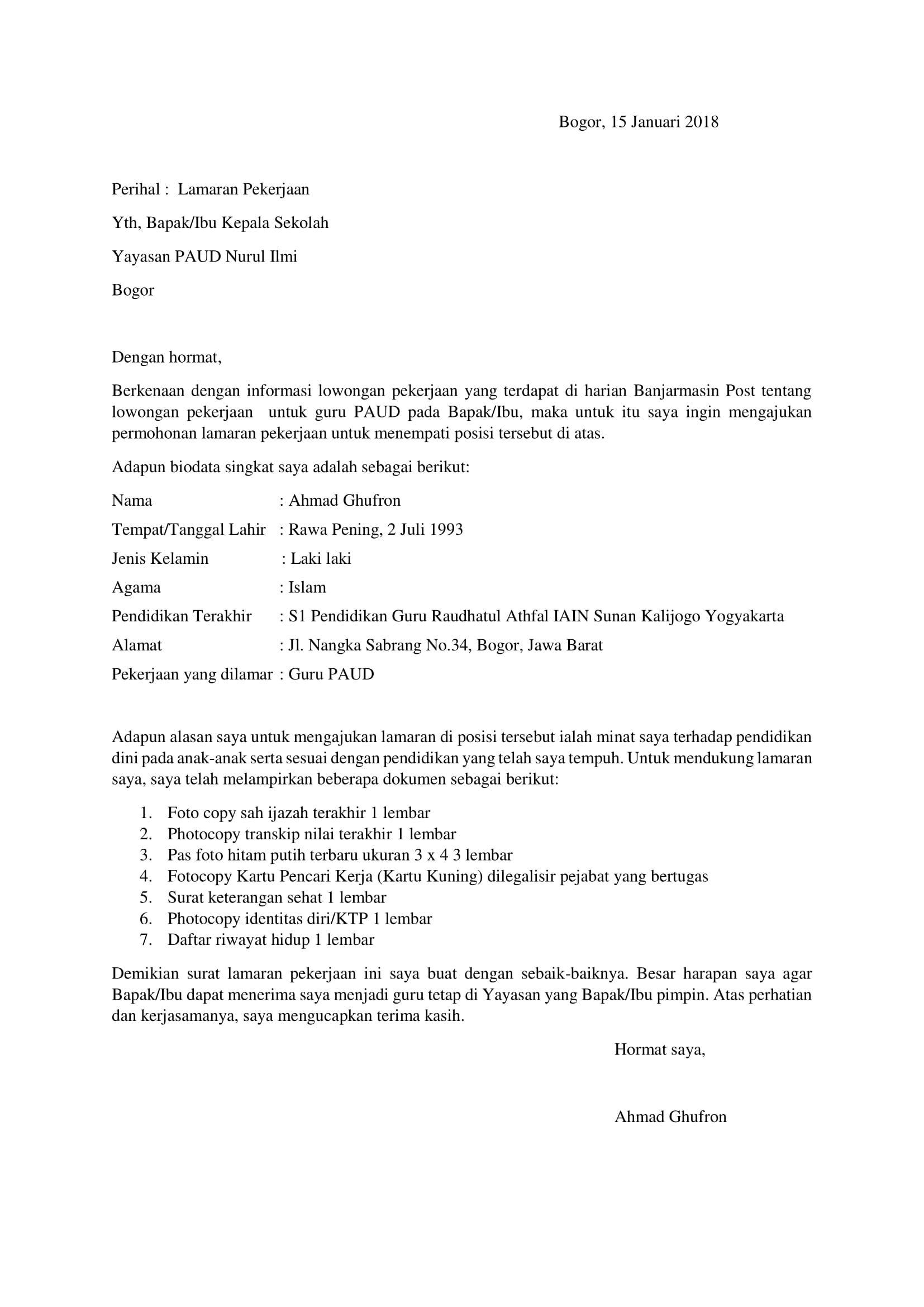 Contoh Surat Lamaran Kerja Jadi Guru Paud Id Lif Co Id