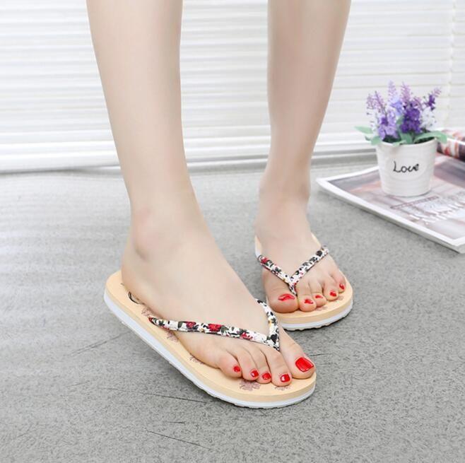 aae89d828 Flip Flops Women Thongs Flower TPR Print Floral Beauty Bohemia Sandals  Light Comfort Flats Girls Summer Beach Slipper Shoes