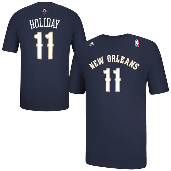 Mens New Orleans Pelicans Jrue Holiday adidas Navy Blue Game Time T-Shirt -  $18.99