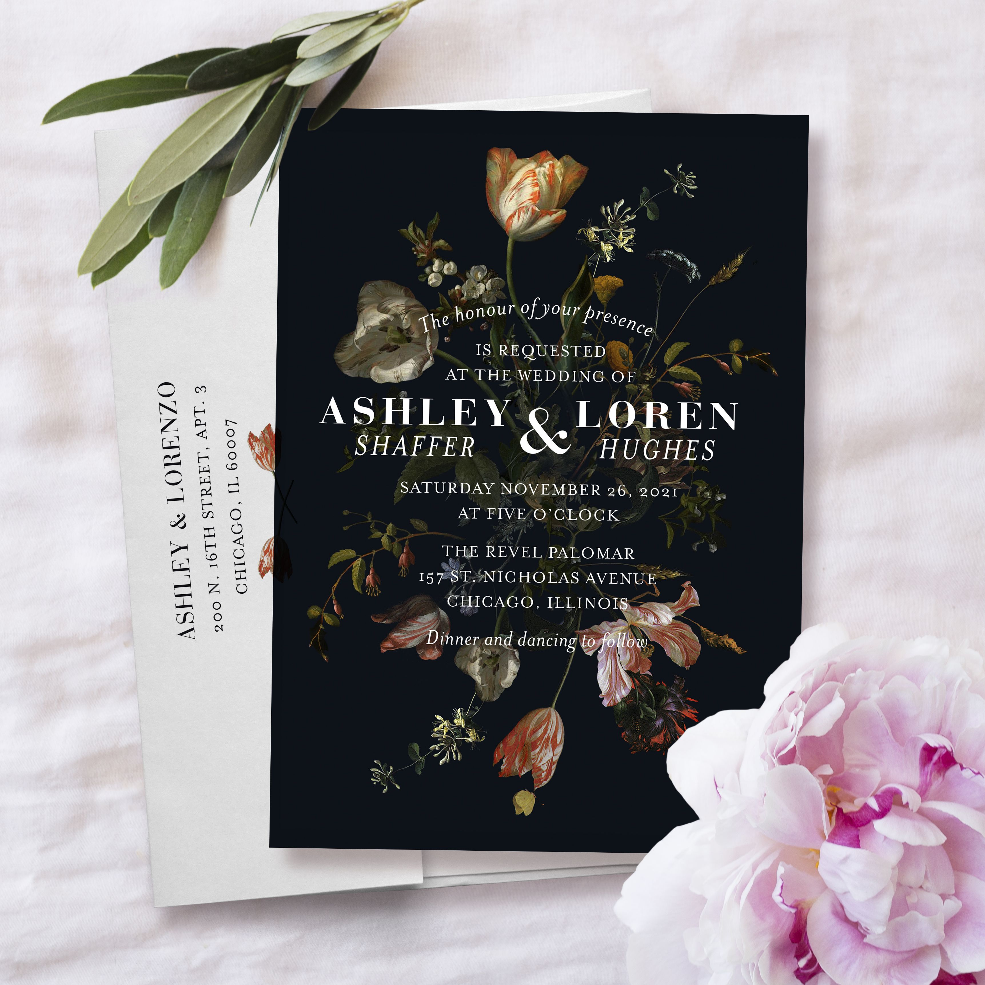 graphic relating to Printable Press titled Moody botanical invitation against Printable Force Wedding day