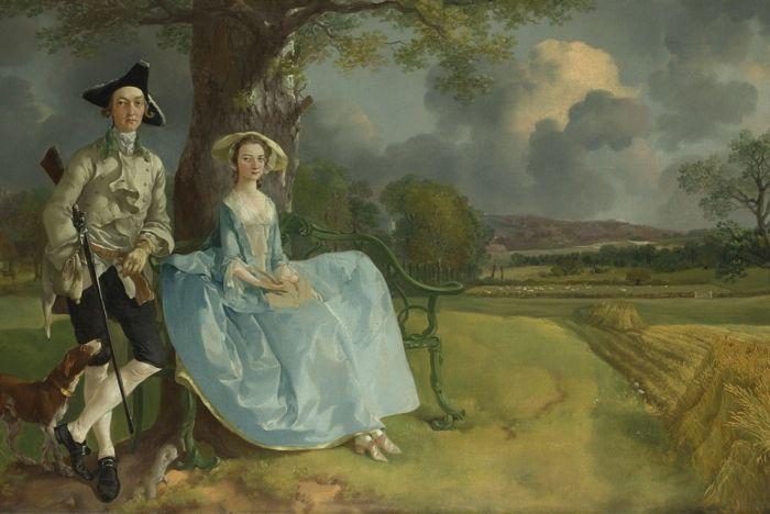 Томас Гейнсборо -    Портрет четы Эндрюс.    Первую картину Томас написал в 1745 году - бультерьер на фоне пейзажа. Художник всю жизнь тяготел именно к пейзажам, но, к сожалению, красивые виды природы не приносили дохода, их мало покупали, и поэтому ему приходилось заниматься портретами. Портретное искусство давалось ему не менее хорошо. Чтобы удовлетворить свои потребности в живописи он часто совмещал портретный жанр и пейзажную живопись, получая ещё более красивые и глубокие картины.