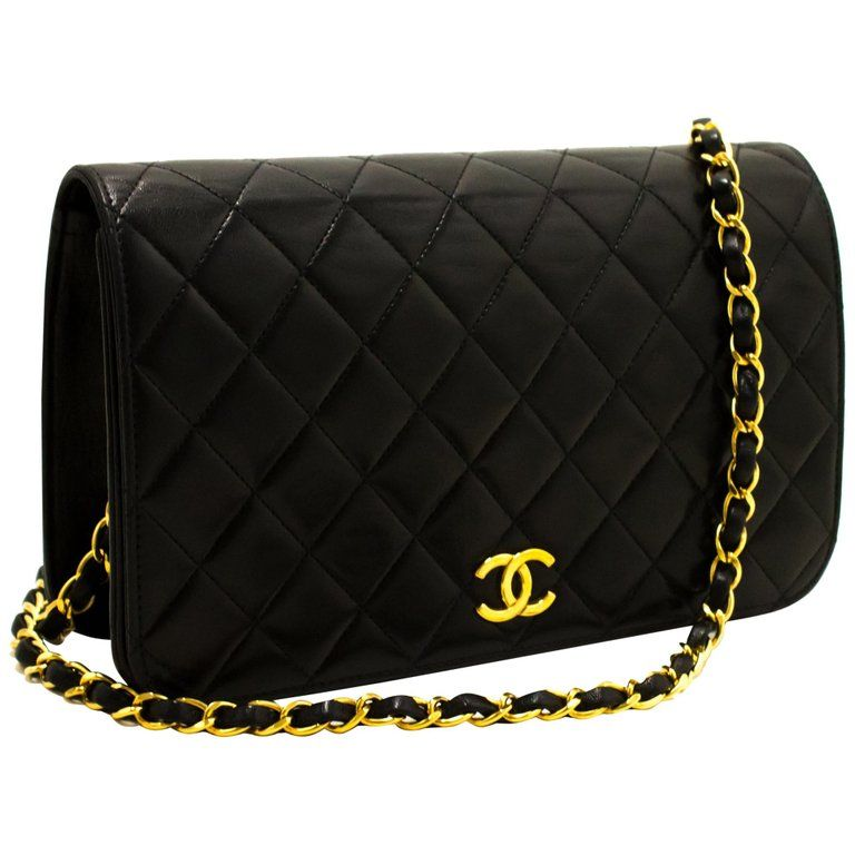 Chanel Chain Shoulder Bag Black Clutch Flap Quilted Purse Lambskin Black Leather Handbags Shoulder Bag Chain Shoulder Bag