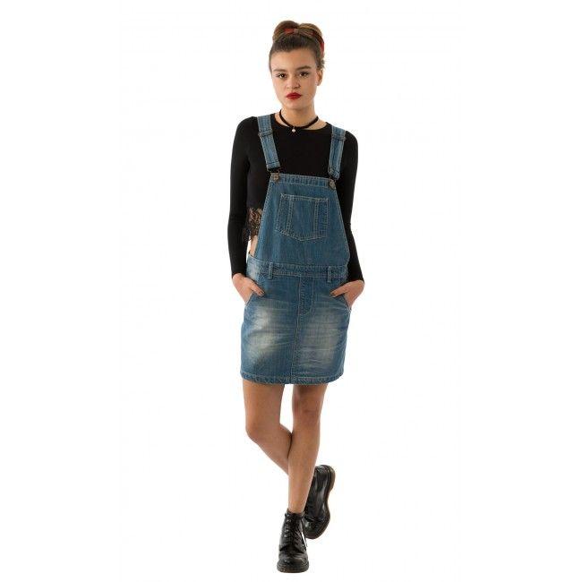 af3a18e5297 USKEES CLAIRE Short Denim Dungaree Dress - Lightwash