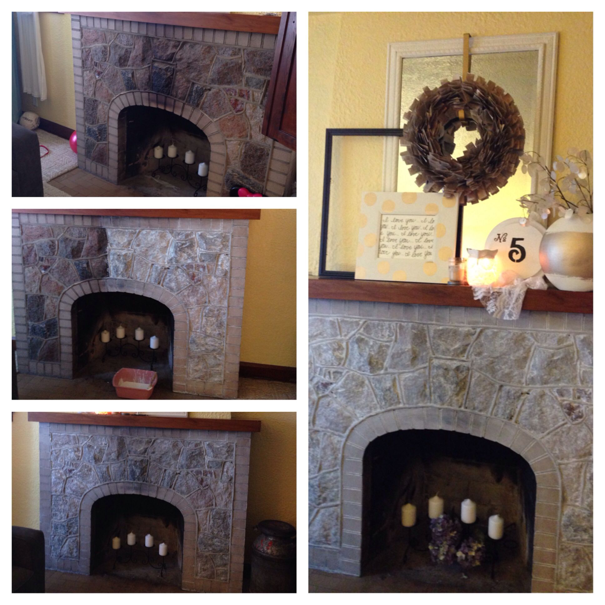 Whitewashed Stone Fireplace Redo House To Home Pinterest Fireplace Redo Stone Fireplaces