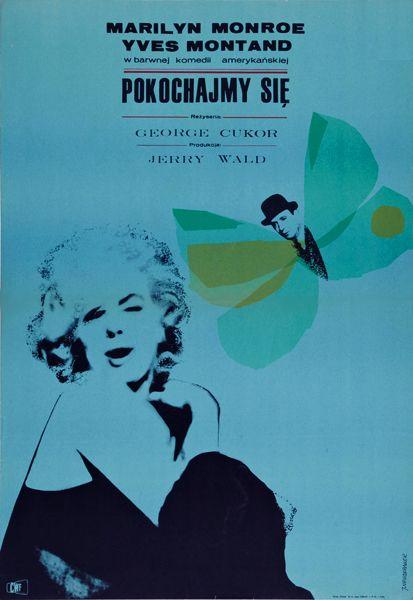 Vintage Polish movie poster 1965 by Jacek Neugebauer: Pokochajmy sie (Let's Make Love, US 1960)