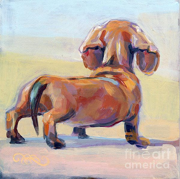 print ADORBS! ACEO Doxie Dachshund dog pup painting puppy mini art frenchie ATC