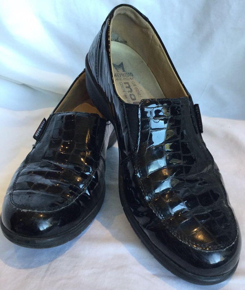 ce5bbfa2f9 Mephisto Mobils Womens Leather Loafer Shoe Black patent Mock Croc Size US 9  UK 6.5 EUR 39 Length measured inside approx 10