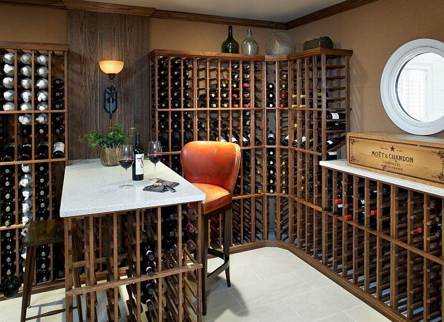 Small and comfy wine tasting area in the smart wine cellar [Design: Terrat  Elms Interior Design]   Wine cellar design, Wine room design, Wine cellar