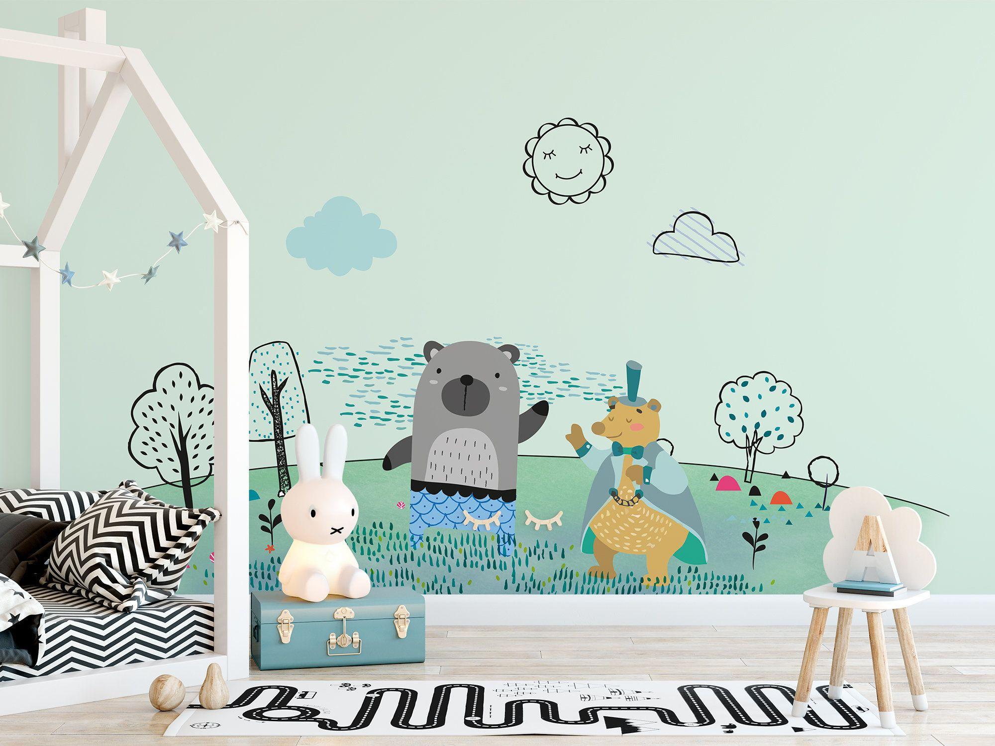 Bear Sun Tree Drawing Cartoon Wallpaper Self Adhesive Peel And Etsy Nursery Wallpaper Kids Wallpaper Kids Room Wallpaper