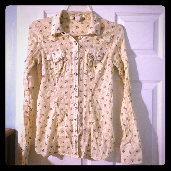 Free People Flannel-like Top Light-weight, flannel-like top from Free People They s is cream colored with super cute blue detail throughout! Lace-up back adds a feminine touch Free People Tops Button Down Shirts