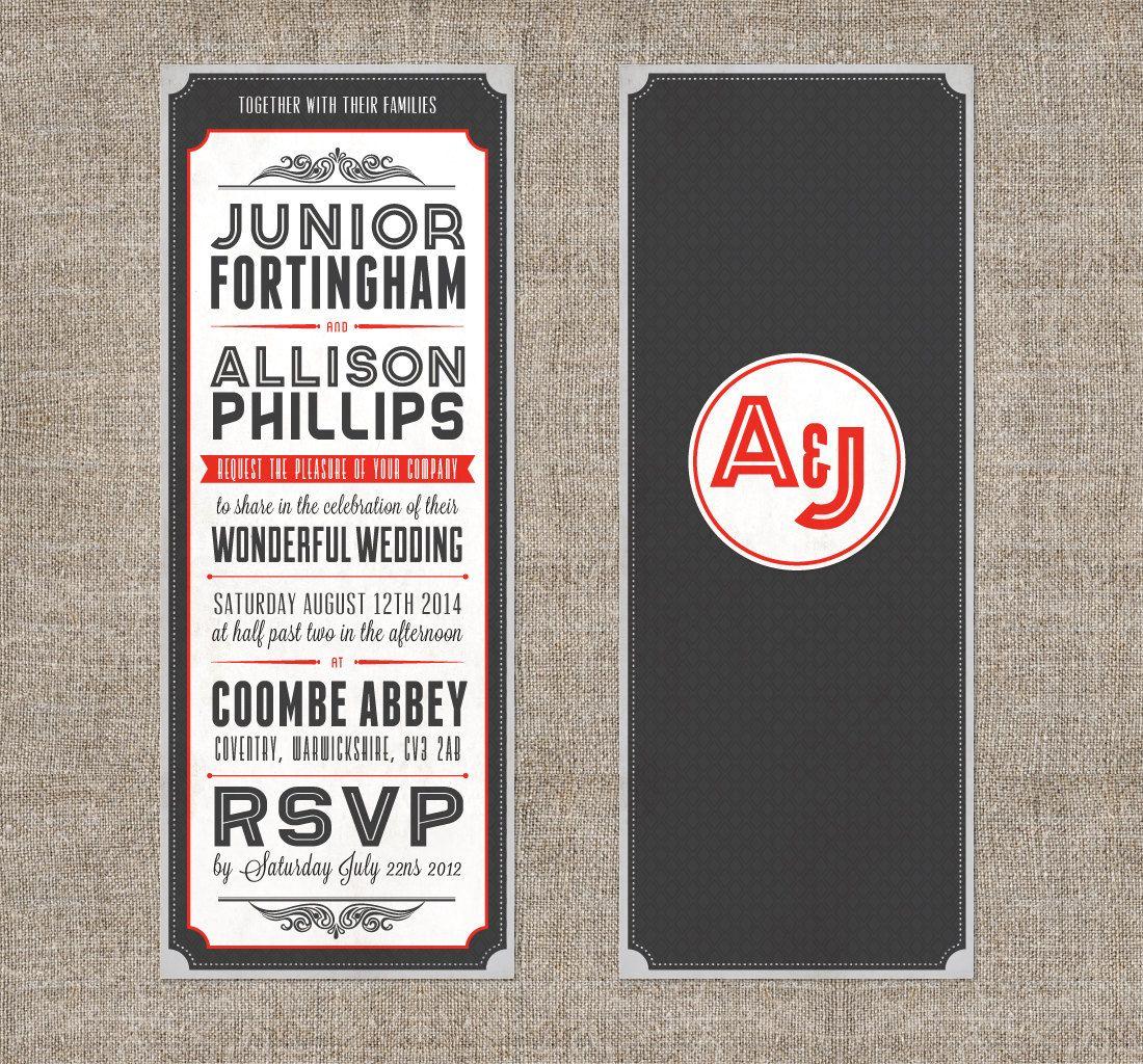 Vintage Typography Theatre Movie Invitation With Ticket