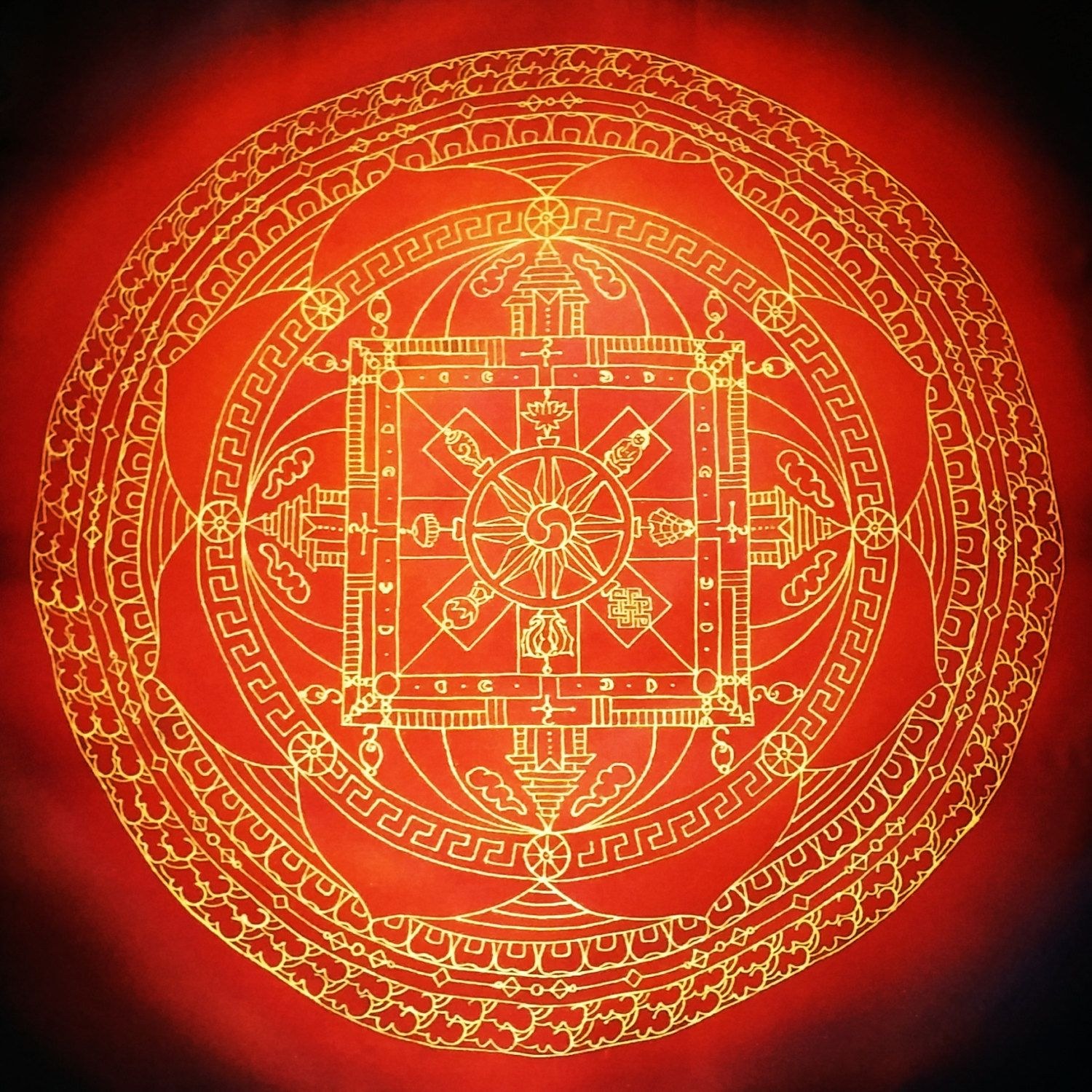 Ornate Red Black Gold Traditional Tibetan Buddhist Mandala Scarf Or Wall Art Hand