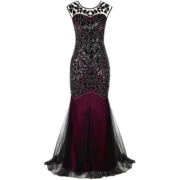 PrettyGuide Women \'s 1920s Black Sequin Gatsby Maxi Long Evening ...