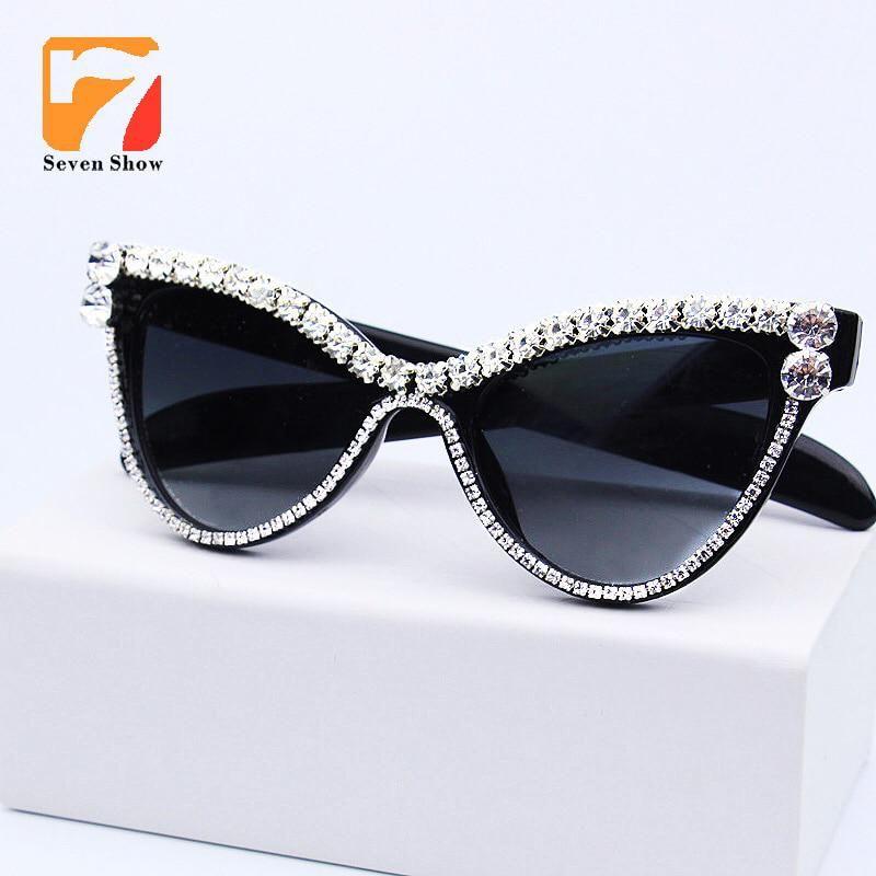 c9af6615669 Cute Sexy Women Cat Eye Sunglasses Vintage Brand Designer Crystal Diamond  Frame Glasses Gradient Sun Glasses For Female UV400. Yesterday s price  US   11.98 ...