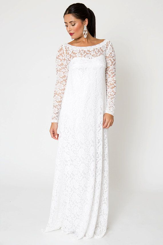 1011c6c09328 EMPIRE WAIST Lace Wedding DRESS. Simple Bohemian Wedding Dress. Long Sleeve  Simple Wedding Gown. Embroidered Stretch Lace. White or Ivory.