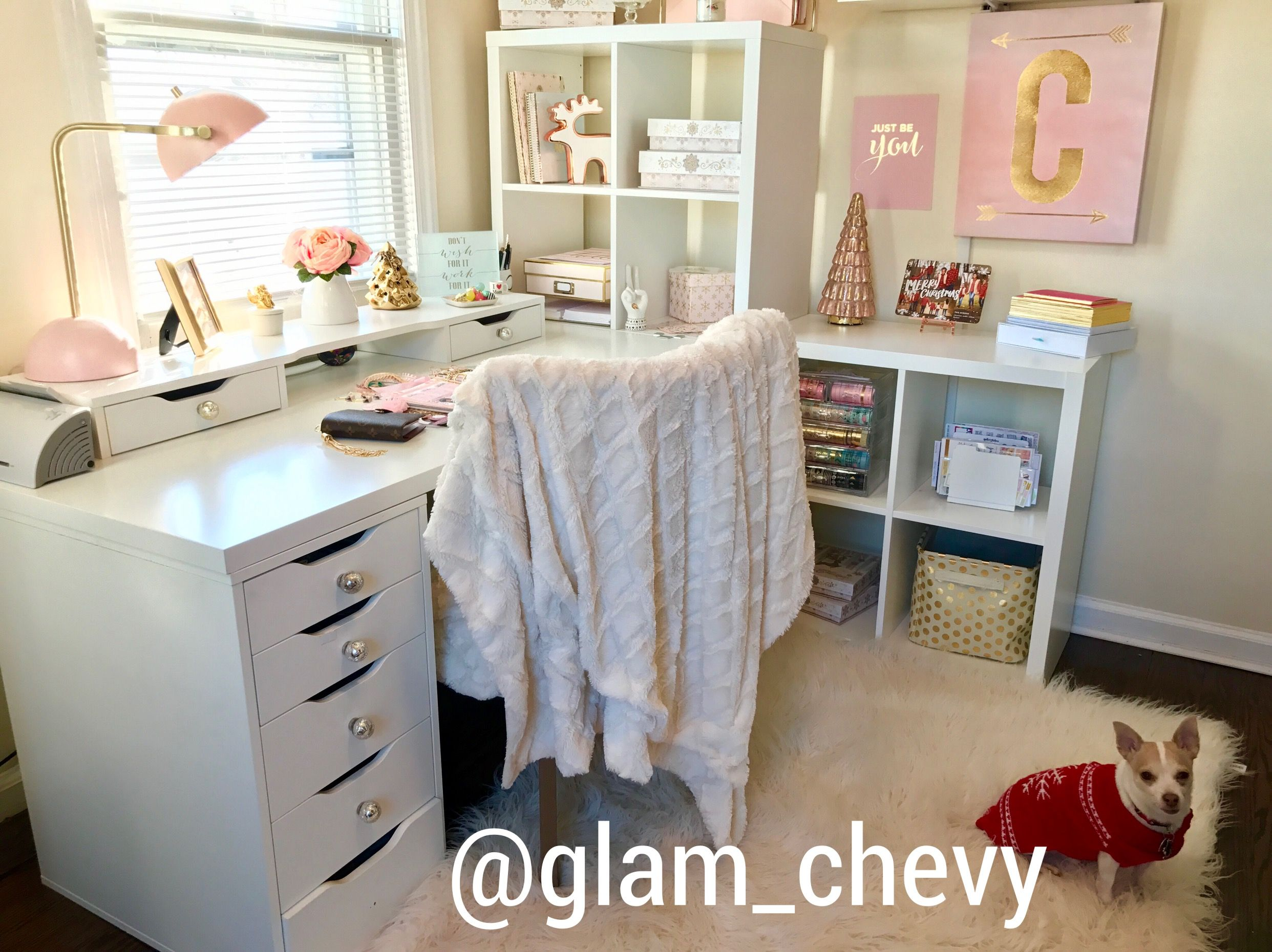 All pieces are from ikea. Ikea home office solutions. Perfect Home office for a planner addict to plan and craft. Great craft space and  perfect if you have a small space office.  Chic office. Planner space. Planning space. IKEA, DIY, Craft room