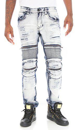 Mens Styled Biker Zipper Jeans By Smoke Rise Slim Fit
