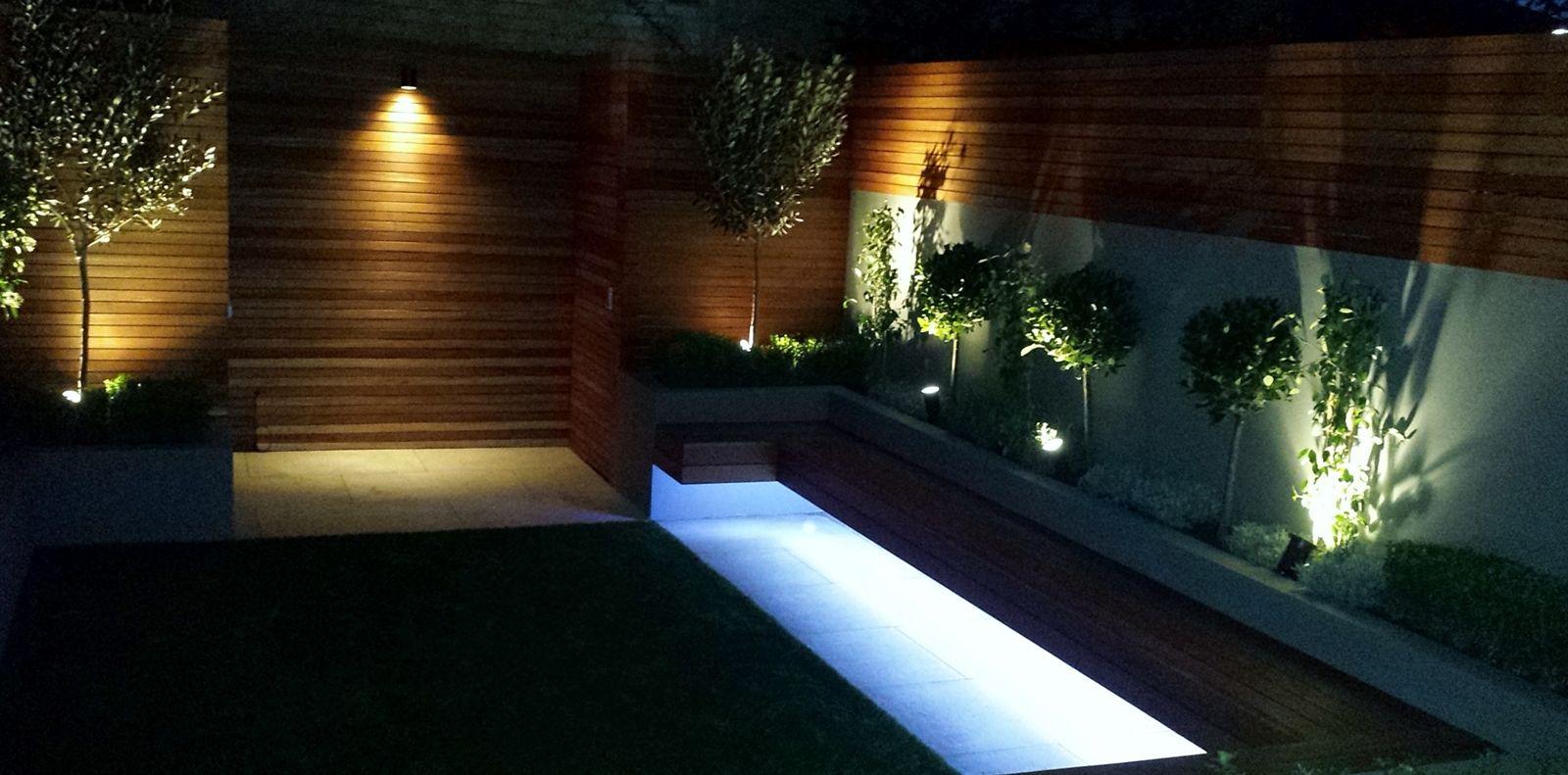 modern garden design ideas great lighting fireplace hardwood screen plastered rendered walls clapham battersea south west london led strip lights