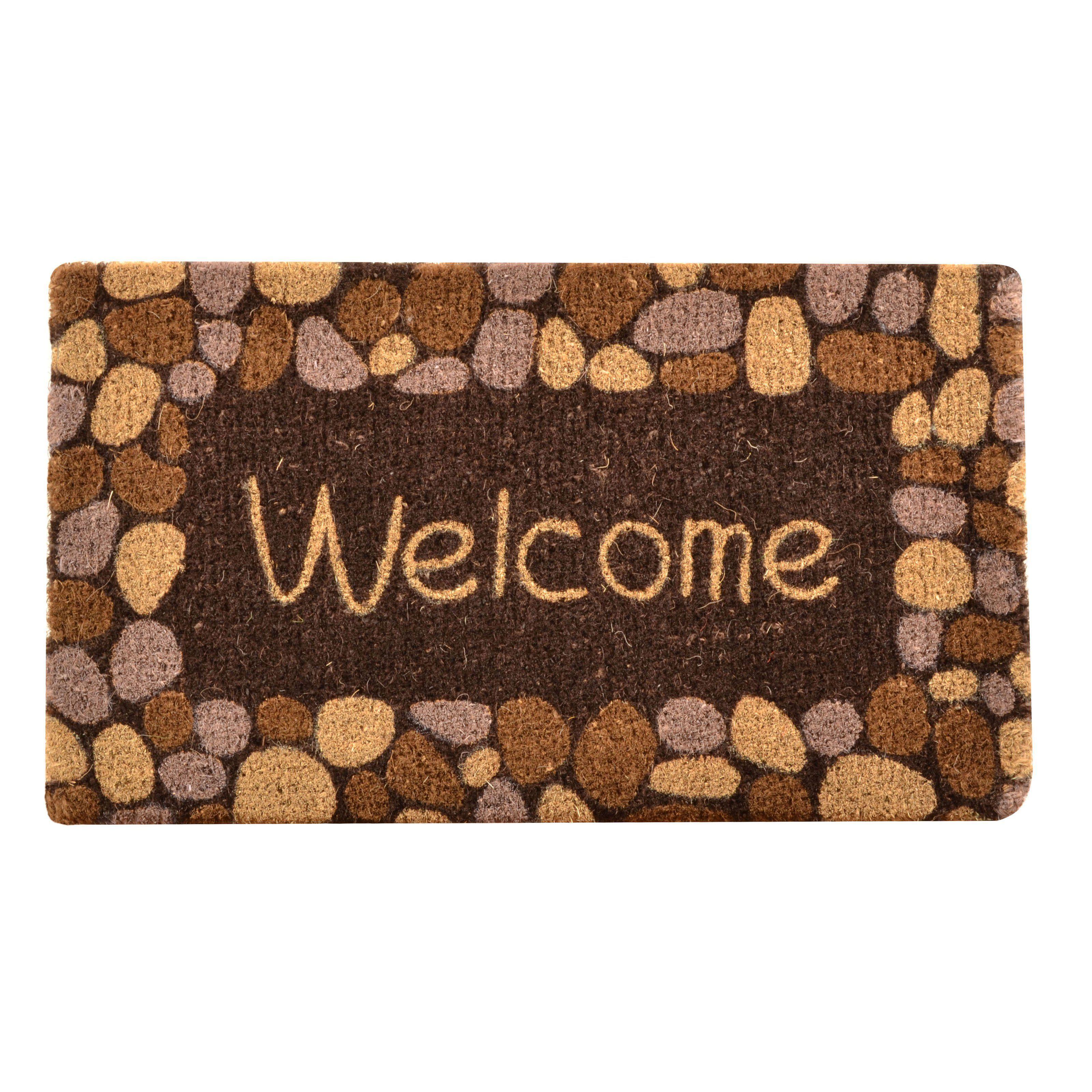 No Trax Welcome River Rocks Coir Door Mat   C11S1830WR