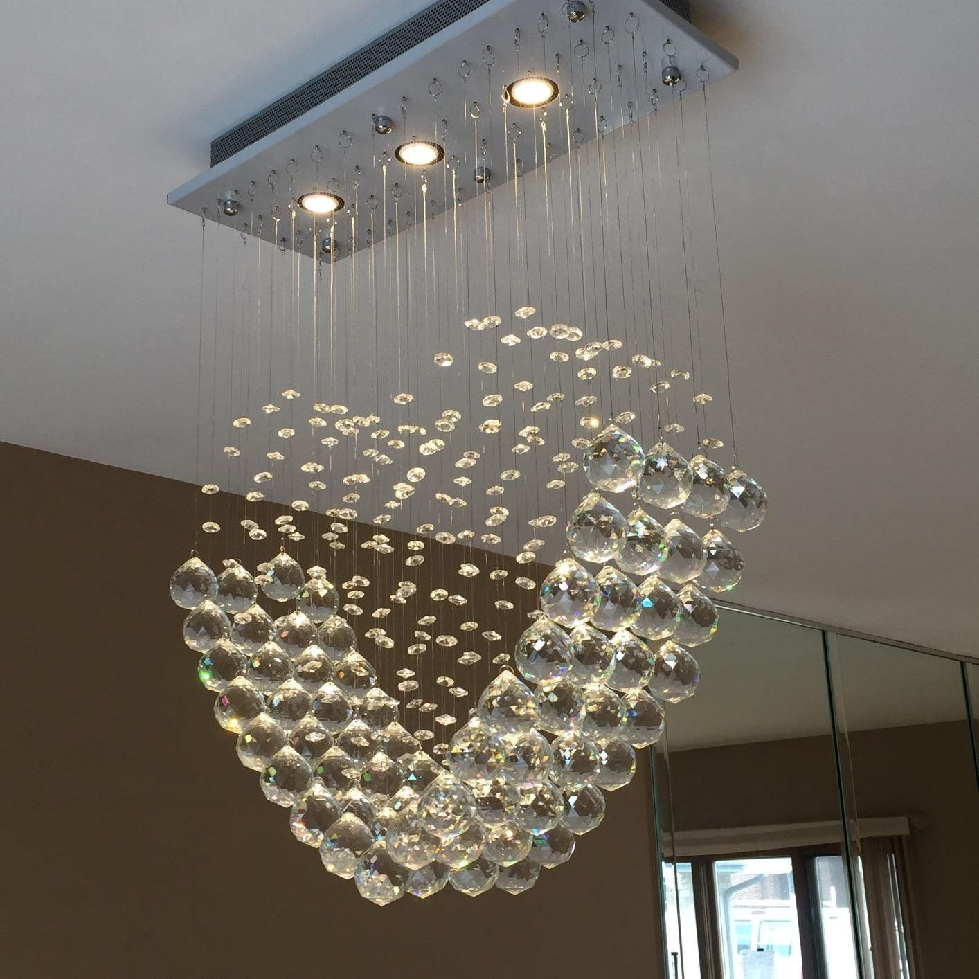Dst Modern Heart Transparent Crystal Rain Drop Pendant Lamp Ceiling Light Chandelier Ligh Pendant Ceiling Lamp Romantic Bedroom Lighting Ceiling Pendant Lights