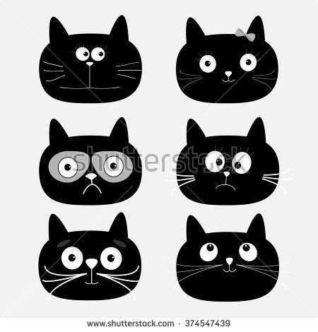 Cute Black Cat Head Set Funny Cartoon Characters White Background Isolated Flat Design Vector Illustra Funny Cartoon Characters Cute Black Cats Cat Vector