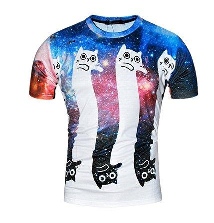 Moderní tričko s 3D potiskem kočky – VELIKOST L Na tento produkt se  vztahuje nejen zajímavá sleva 0090bac575