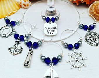 Nautical Bridal Shower Favors – WINE GLASS CHARMS – Set of 6 | Nautical Thank You Gifts for Guests | Let's Get Nauti Bachelorette Favors