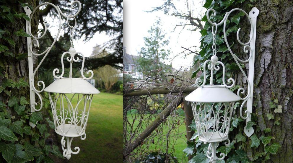Lanterne ronde suspendue blanc antique en fer forgé - Lanternes