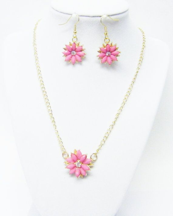 Small Pink on Gold Plated Metal Flower by SabrinaDesignJewelry