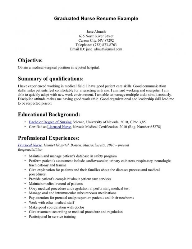 lofty design graduate nurse resume example nursing new slo sample - Skills For Resume Example