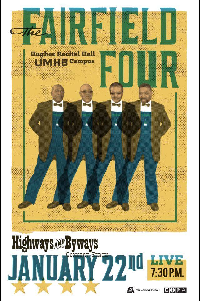 Gig poster designed for The Fairfield Four. Tbarnes.graphics