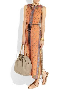 Clover CanyonPrinted crepe de chine maxi -- perfect for a weekend coffee date with friends