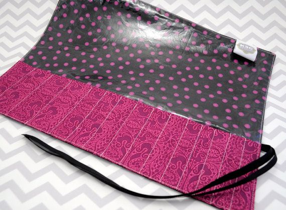 Makeup Brush Holder Case or Roll  Vinyl Lined  Purple by knitty34, $33.00