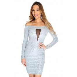 Sexy Grey Sequin Long Sleeves Mesh Cutouts Cocktail Party Dress