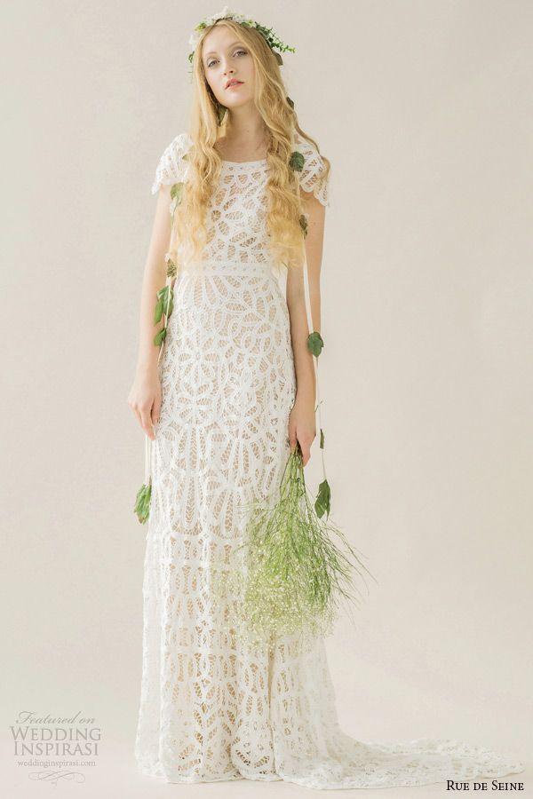 Rue De Seine Wedding Dress 2015 Bridal Cap Sleeves Bateau Neckline Cotton Battenburg Lace Column Full