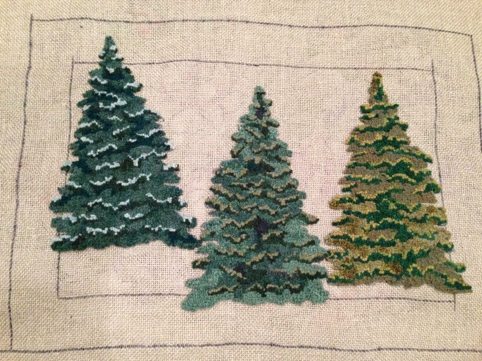 Punch Needle Trees Pine Needleart