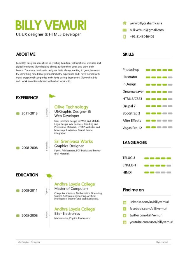 Great UI/UX Designer Resume