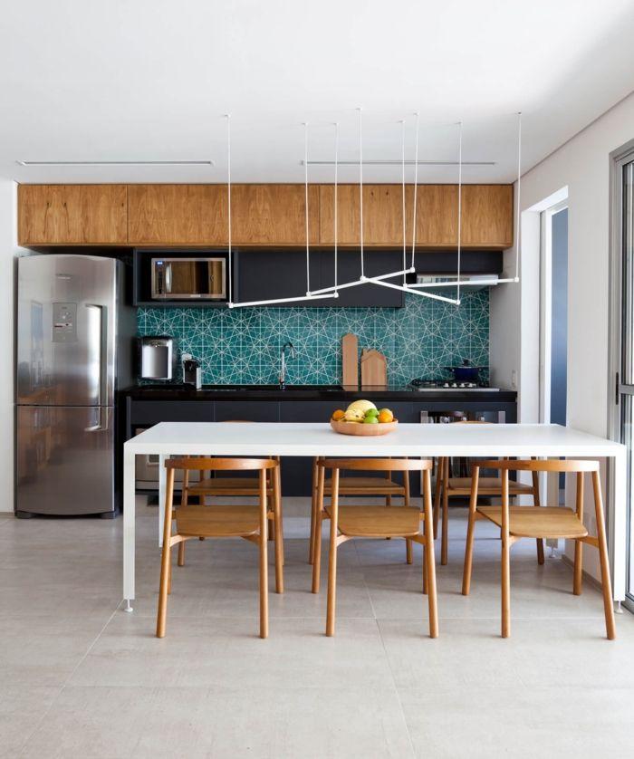 1001 ideas de decoraci n de cocina americana cocina for Lamparas de mesa originales