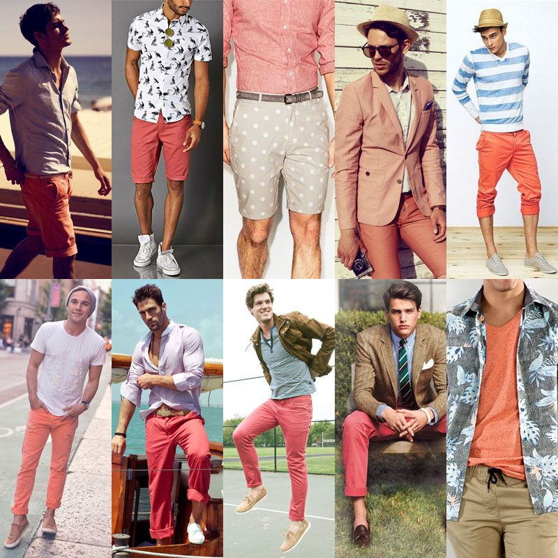 SS16 Men's Fashion Coral and Salmon Color Trend
