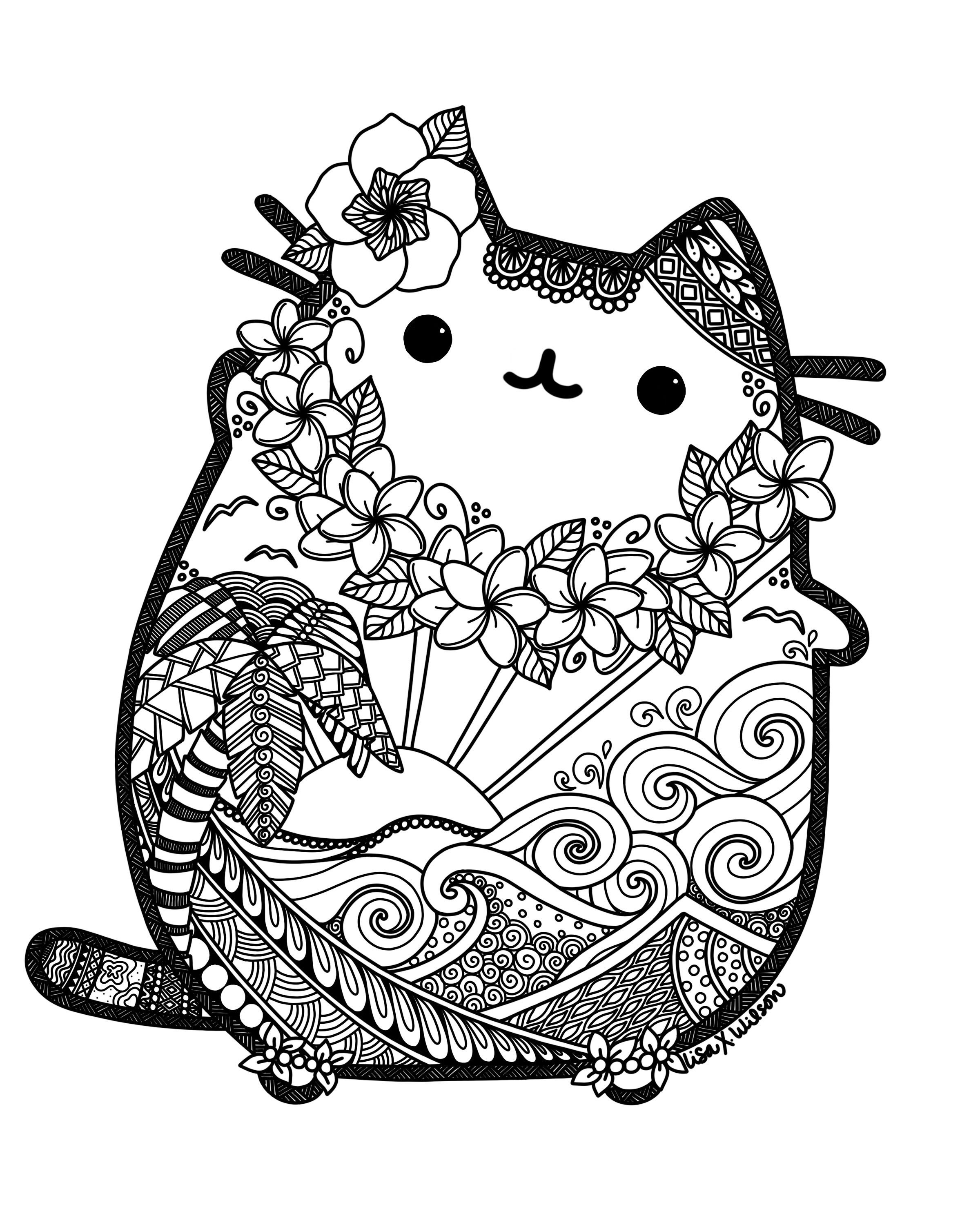 Hawaiian Pusheen Fan Art Pusheen Coloring Pages Cat Coloring Page Mandala Coloring Pages