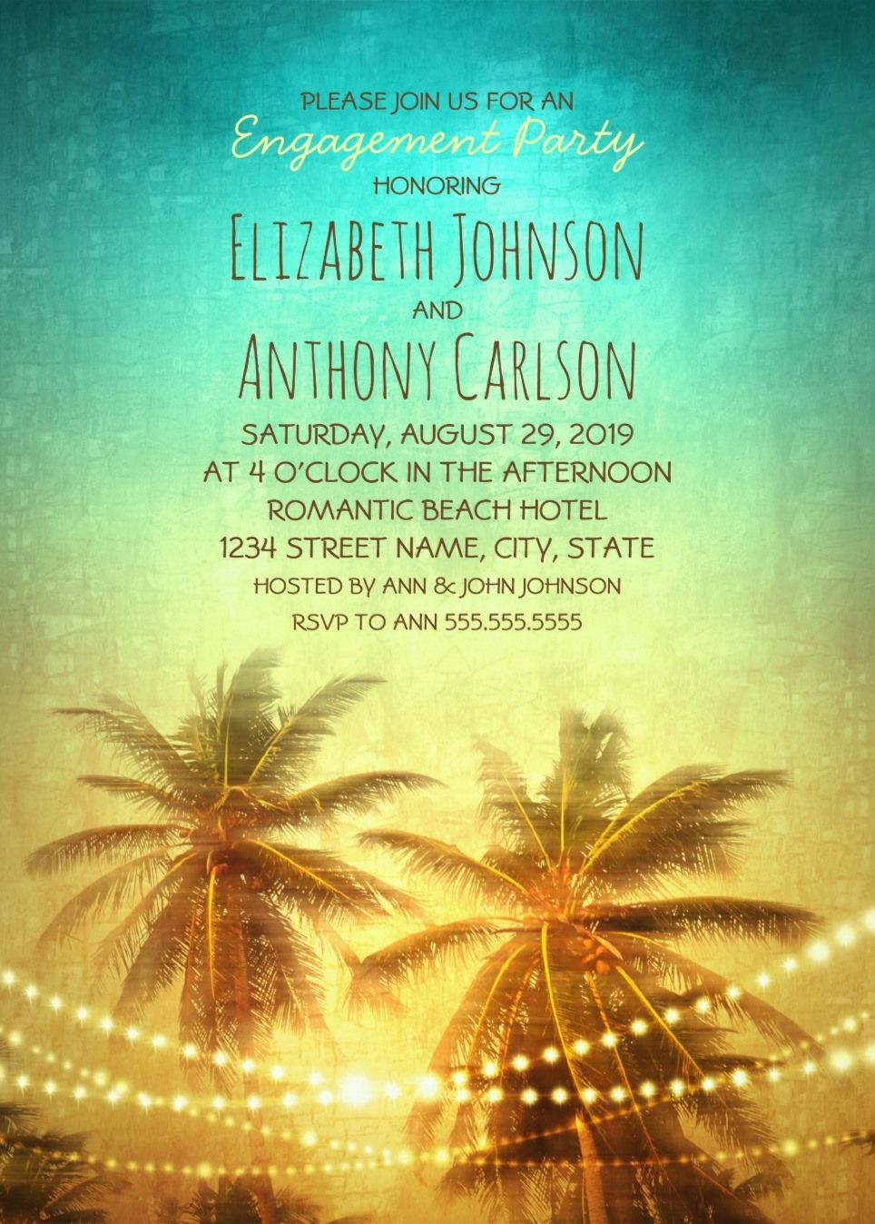 Tropical Beach Engagement Party Invitations - String Light Palm ...