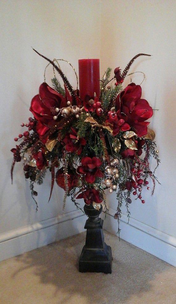 Christmas flower arrangement Candle Stick centerpiece large | Etsy #candle #Etsy # Large ... -  Christmas flower arrangement Candle Stick centerpiece large | Etsy#candle #Etsy #Big #herzstuck #st - #Arrangement #Candle #Centerpiece #Christmas #diygardenbox #diygardenlandscaping #Etsy #Floralarrangementsdiy #Flower #gardencottage #gardentypes #Large #Stick