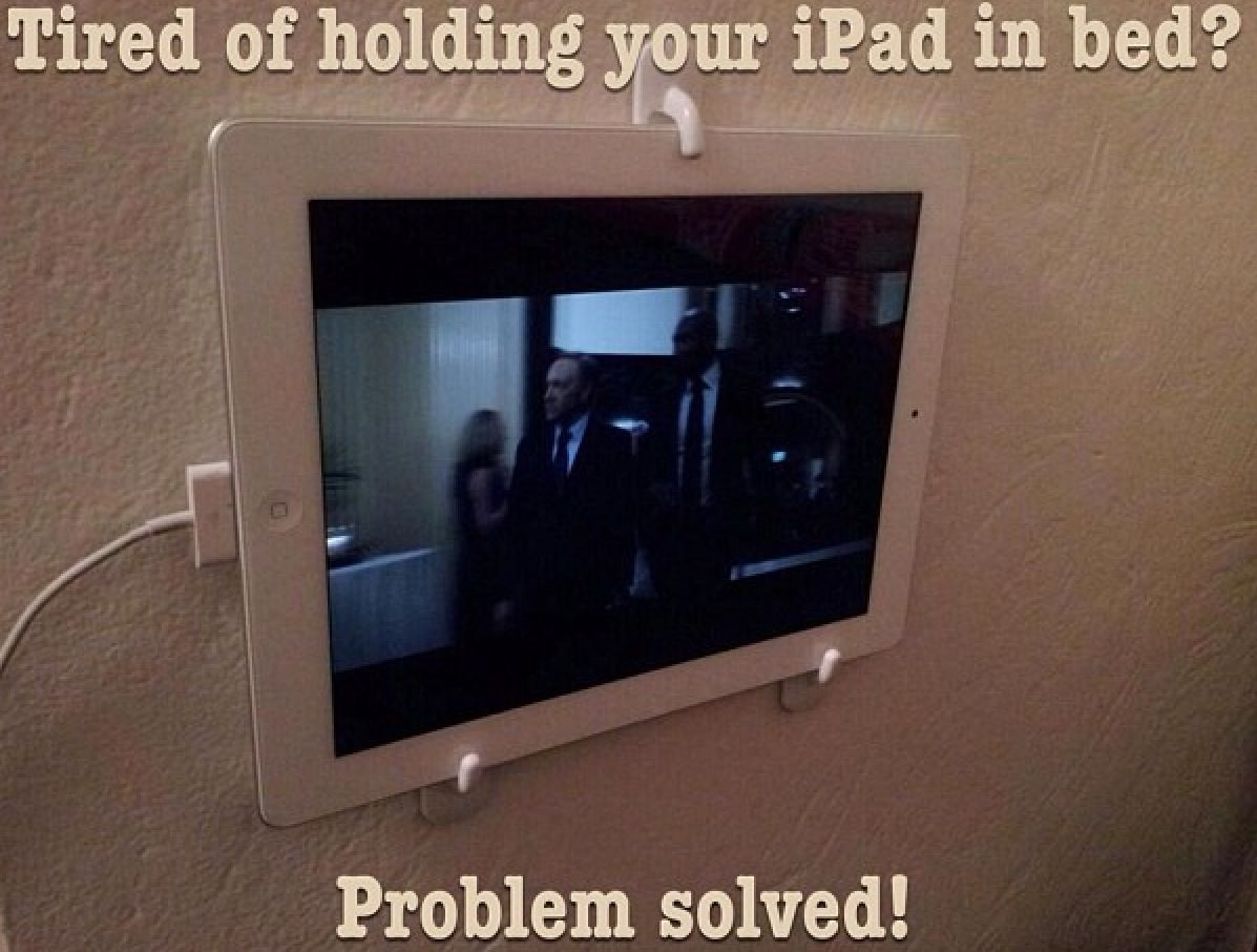 tired of holding your ipad in bed problem solved use 3 hanging stick