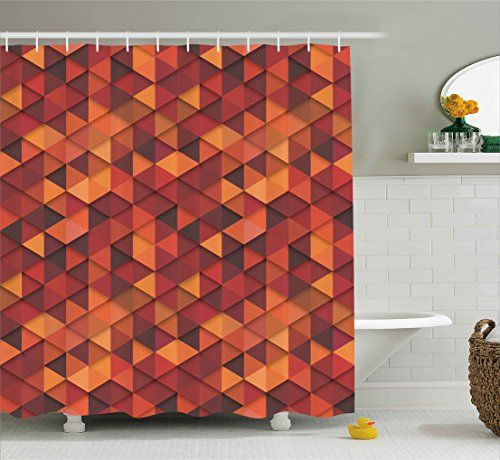 Bathroom Rugs Ideas Orange Shower Curtain By Ambesonne Abstract Art Style Vector Retro Pattern Of Triangles Decorative Illustration Fabric Bathroom Decor