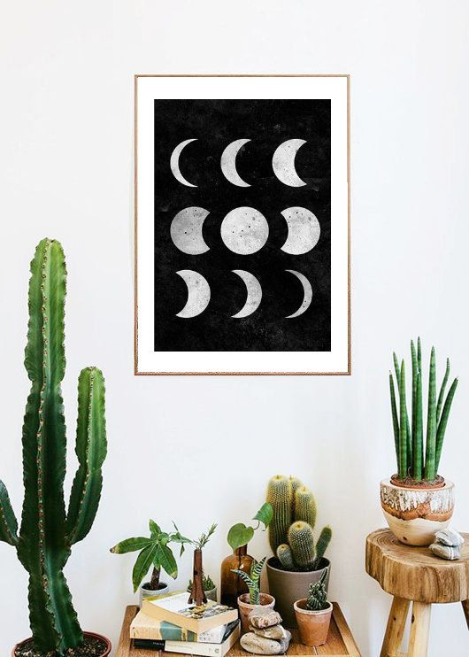 Moon Phases Boho Room Art Painting Print Room Decor Typographic